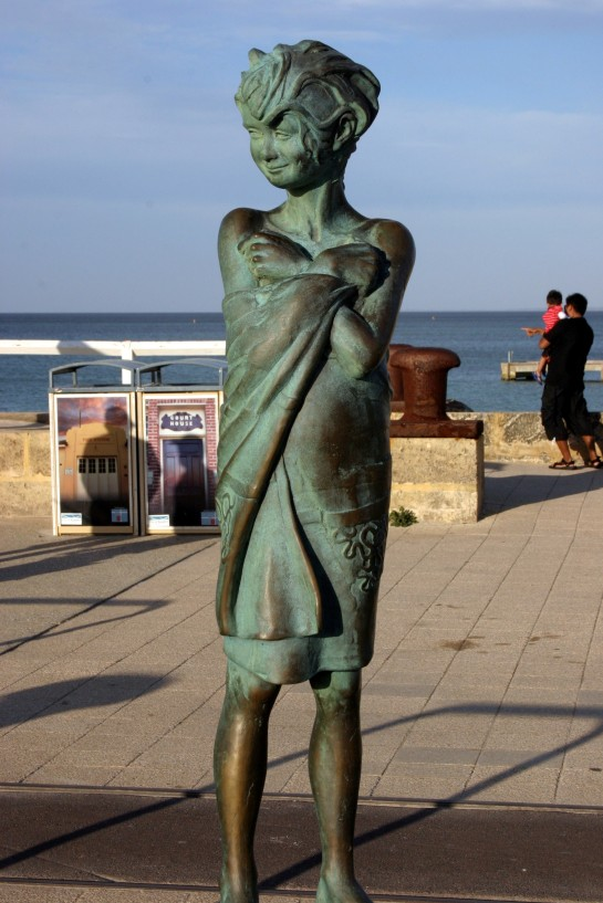 "A bronze statue close to the plaque entitled ""Fish"" Bussleton Jetty"