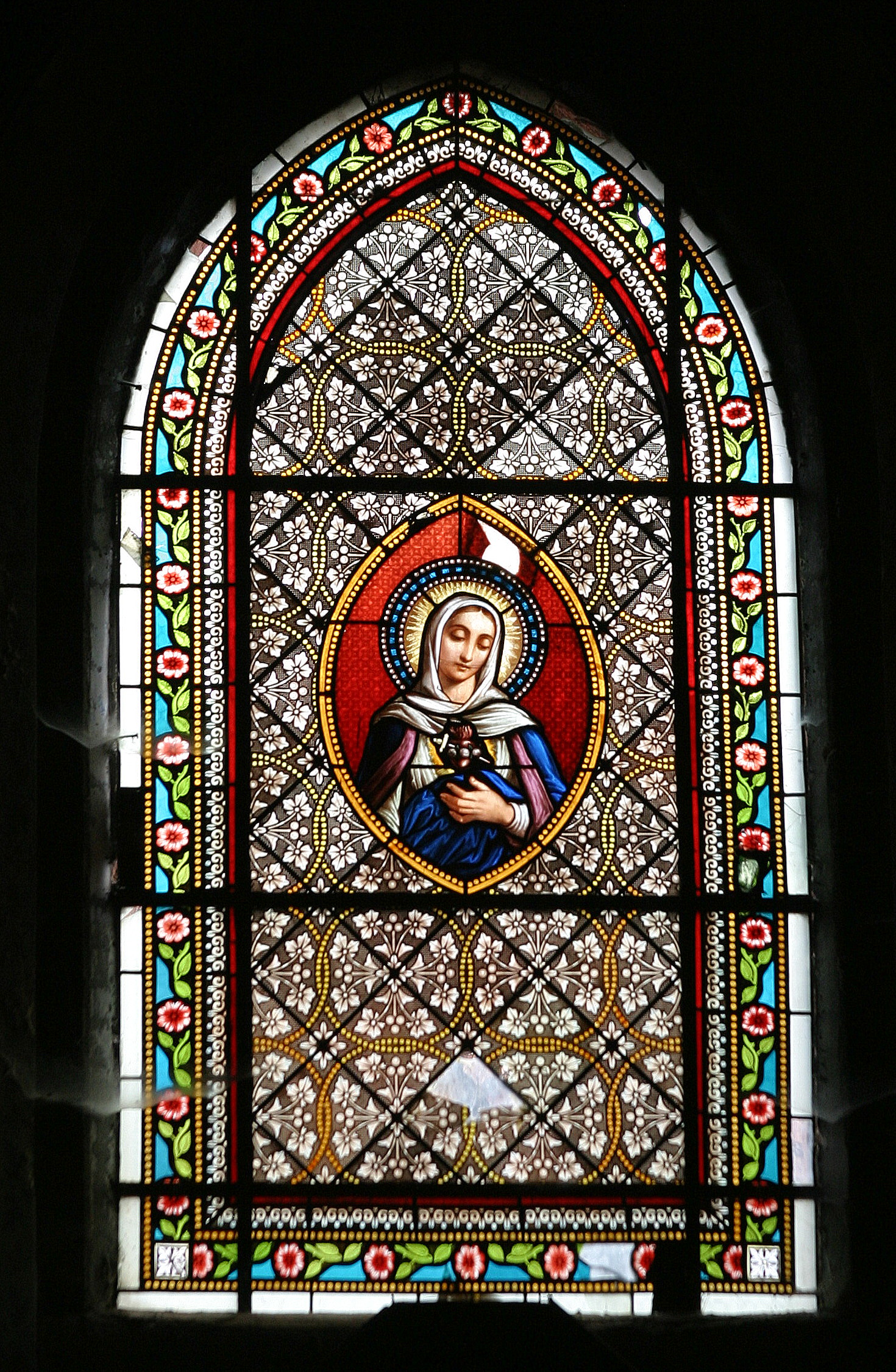 Collonges-la-Rouge, France - Stained-Glass from Saint-Pierre church