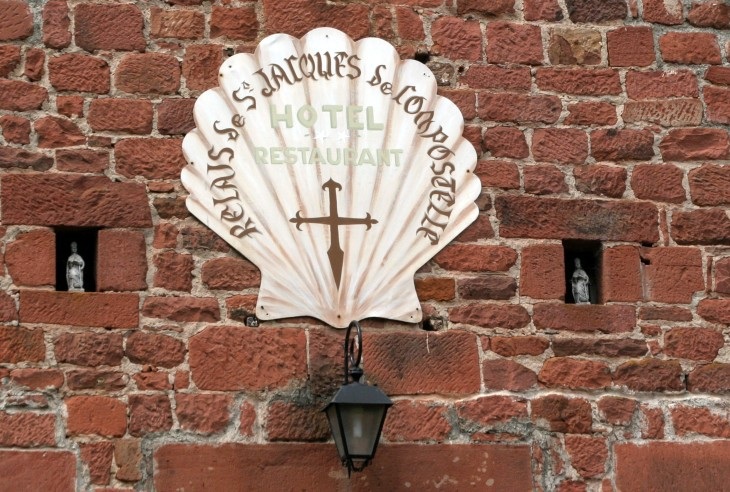 Collonges-la-Rouge, France - detail from eatery.