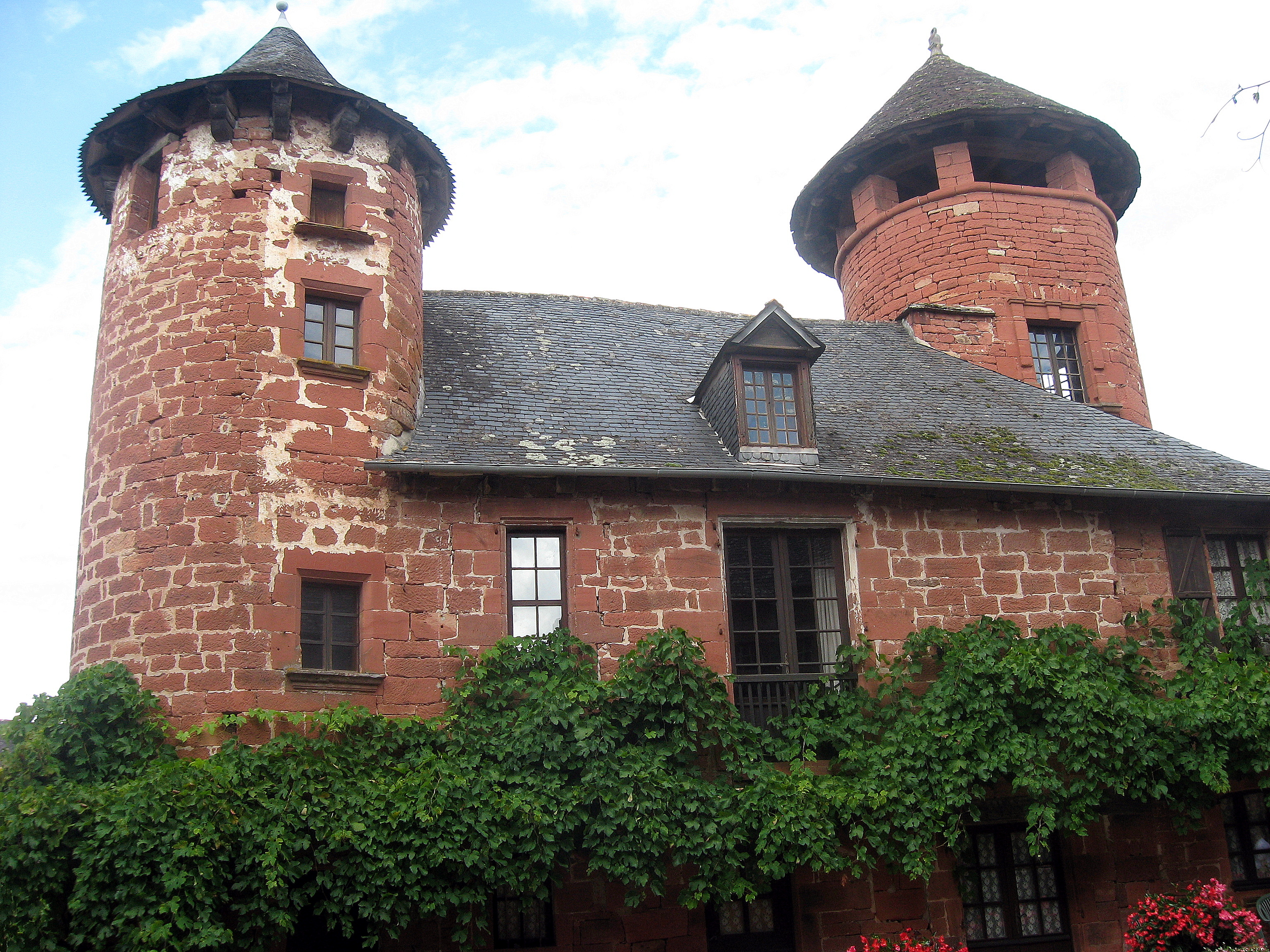 Collonges-la-Rouge, France - Twin turrets.