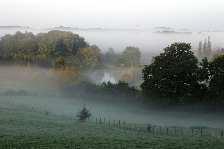La Porcherie, France - A misty morning as viewed from the gite