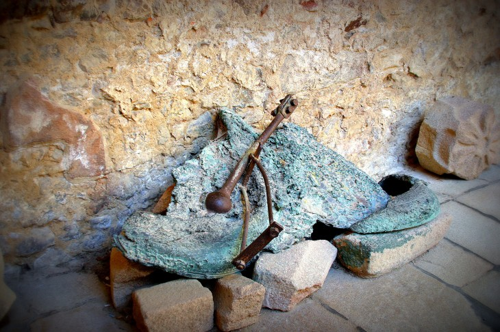 Molten remains of the church bell - Oradour-sur-Glane, Limousin, France
