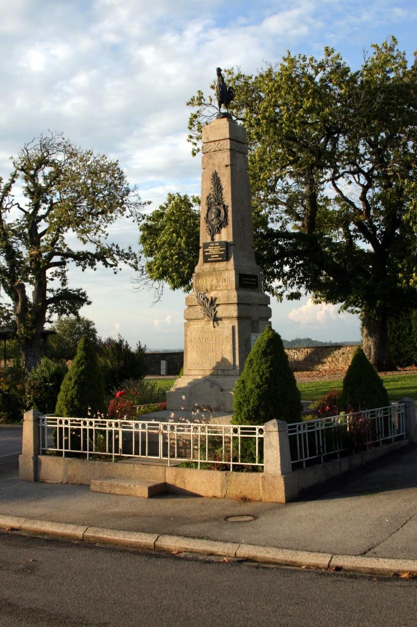 La porcherie, France - Monument to the fallen of the 1914-1918 war.