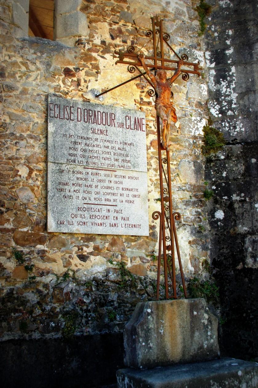 Plaque on the church - Oradour-sur-Glane, Limousin, France
