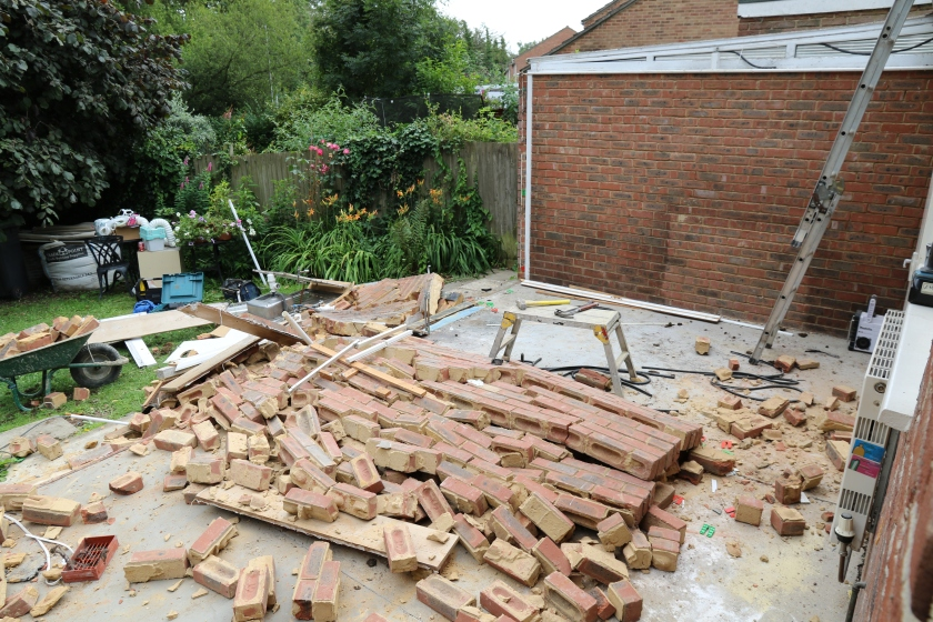Conservatory - No Frames,  partition wall has gone. Apparrently, halfway through the build, the original bricklayers decided to lay the bricks upside down i.e. frog side down !!!