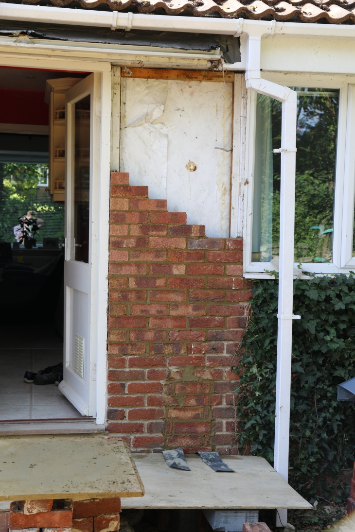Conservatory - Bungalow wall repair.