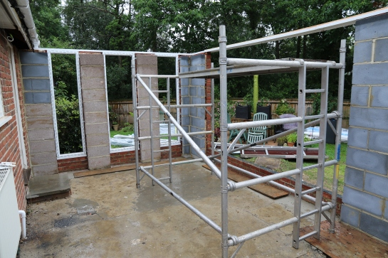 Conservatory - North end window frames are in. Platform is present to aid with the roof installation.