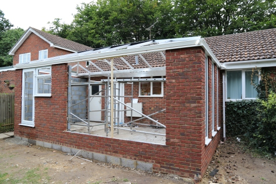 Conservatory - Roof framework is now in place and perimeter guttering has been installed