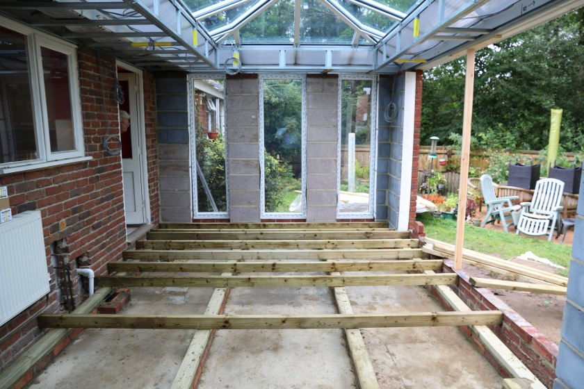 Conservatory - Sleeper walls with joists laid in temporary positions
