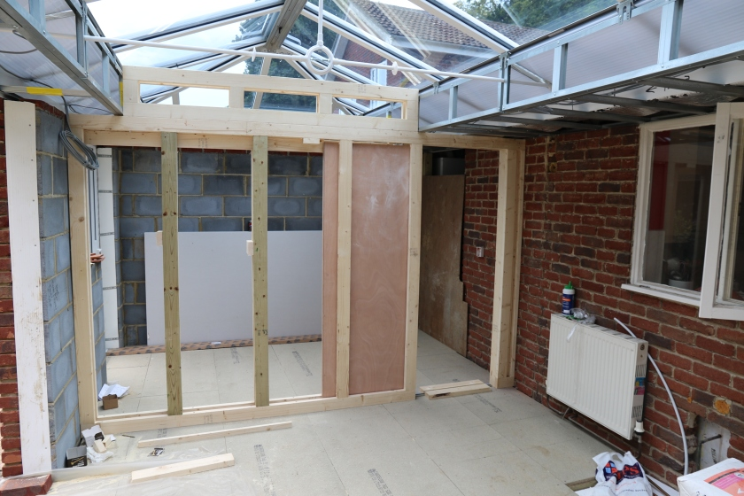 Conservatory - Stud wall and sliding door