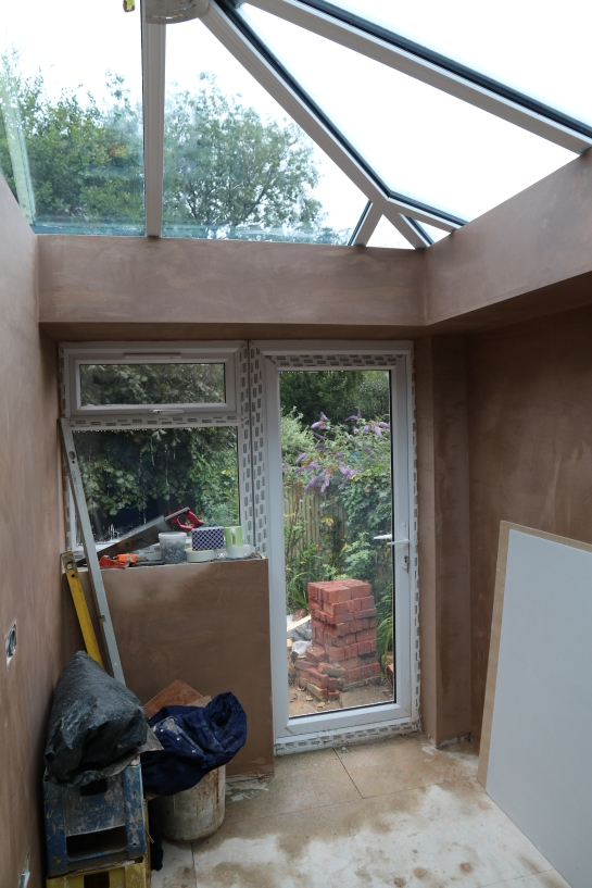 Conservatory -  Plaster has been applied to the perimeter ceiling and the walls of the utility room