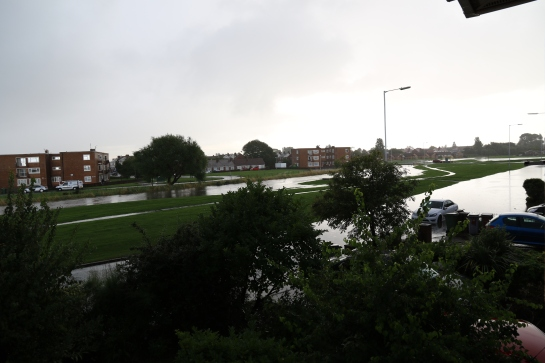 Moreton Floods - Millhouse Lane across Town Meadow. View from bedroom window