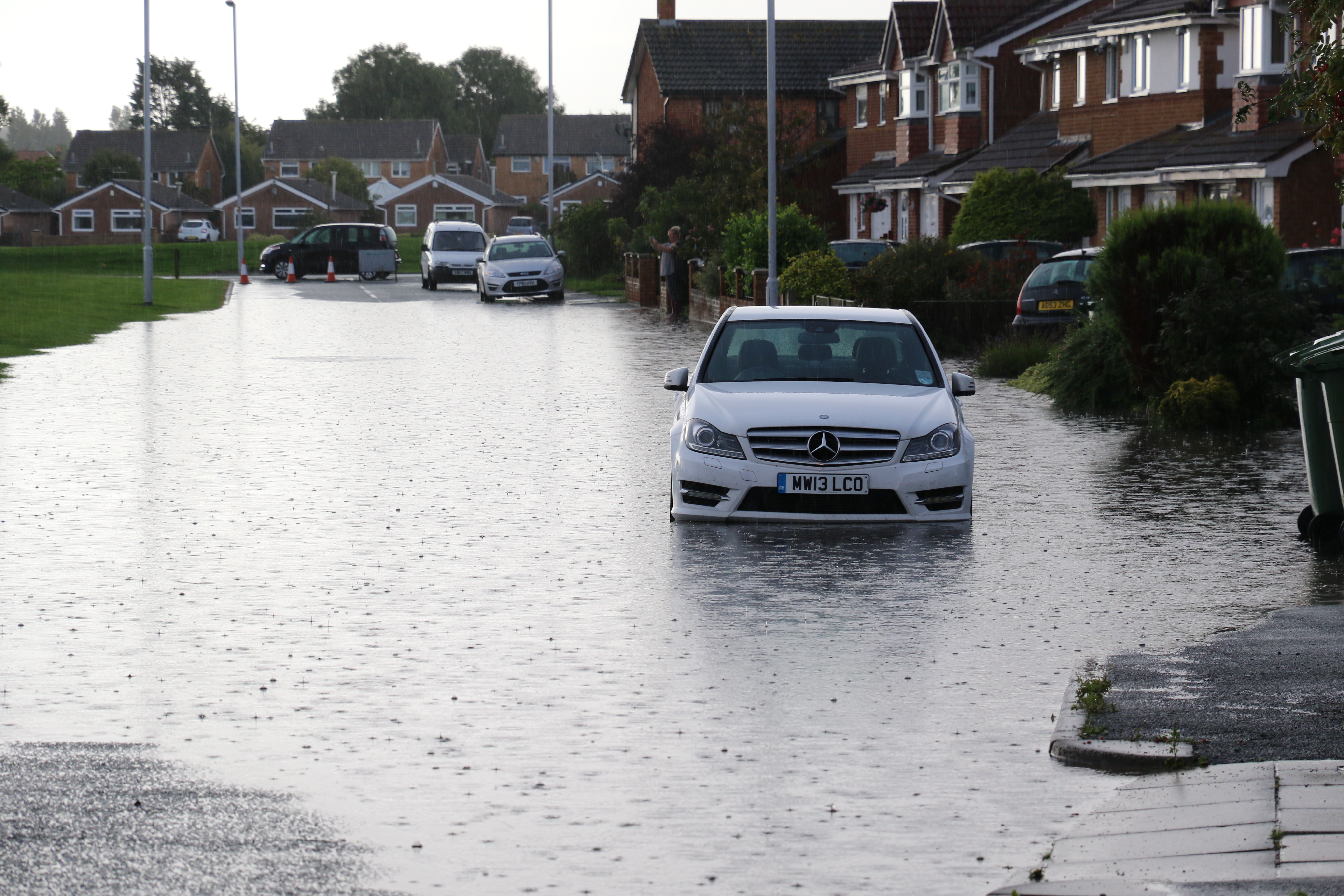 Moreton Floods - Millhouse Lane, Mercedes suffering from a water-logged engine.