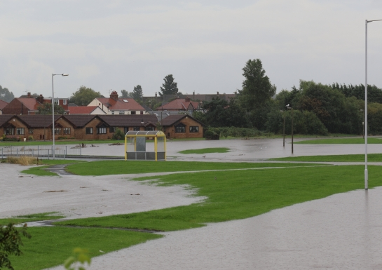 Moreton Floods - The new lake in front of Linear Way
