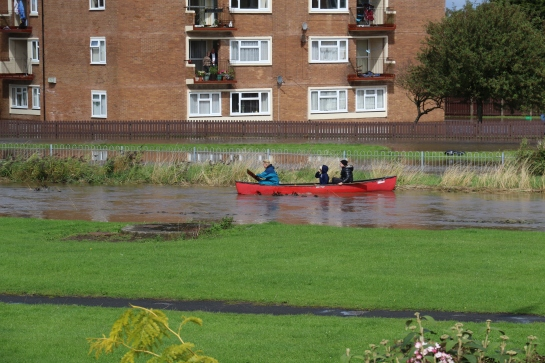 Moreton Floods - Never miss an opportunity. Local lads take to the water