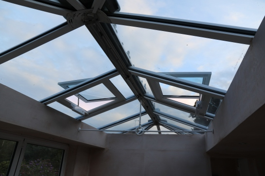 Conservatory - Electric roof vents have been installed, replacing the plain glazing panels temporarily installed.