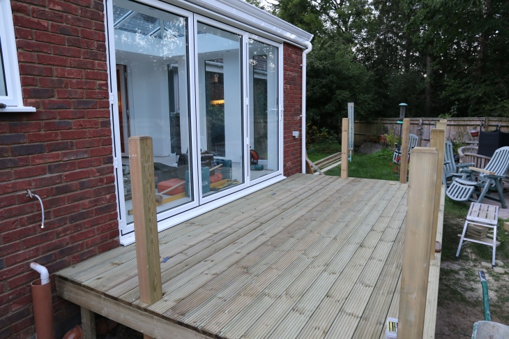 Conservatory - Decking viewed from side access.