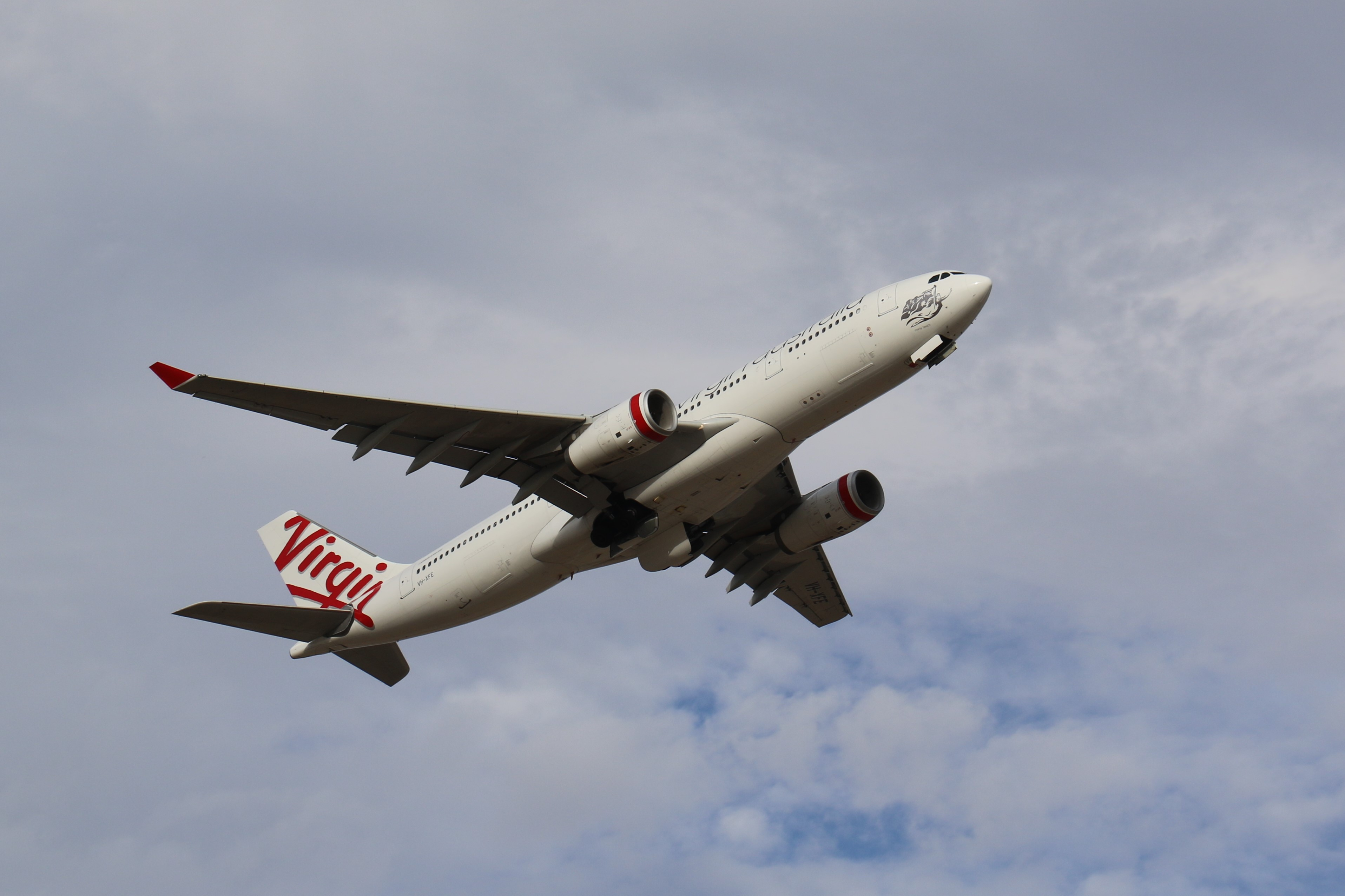 Airbus A330-243 - VH-XFE. Operated by Virgin Australia. Believed to be en-route to Melbourne.