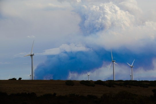 Bushfire Smokestack - viewed from Emu Downs Wind Farm WA