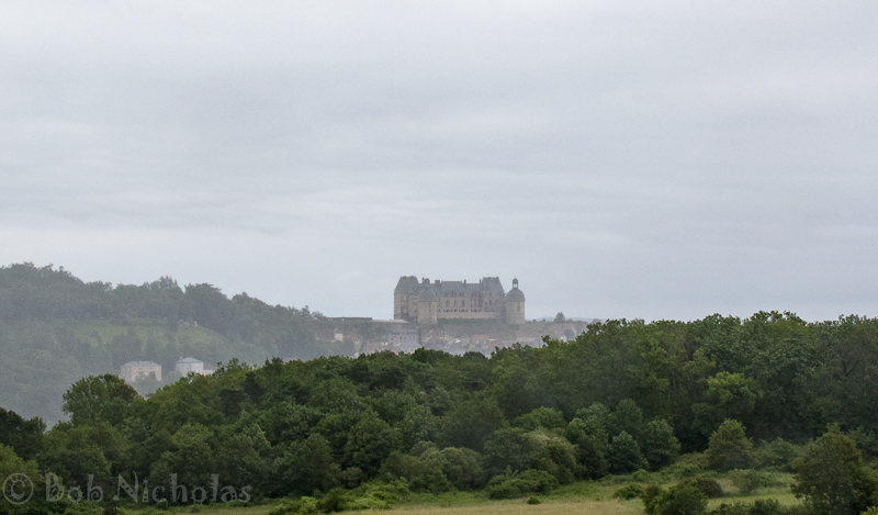 Chateau Hautefort - A distant view through the rain and mist