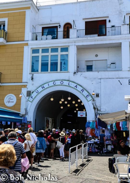 Capri - Funicolare, queues waiting to board.
