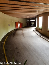 The route from the garage towards the exit