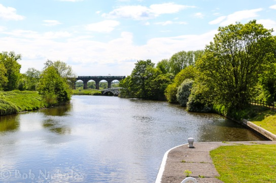 View of Horse Bridge and Railway Viaduct from Dutton Locks